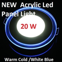 3D Effect 20W Glass Acrylic Round LED Panel Light Warm Cool White LED Ceiling Downlight Blue