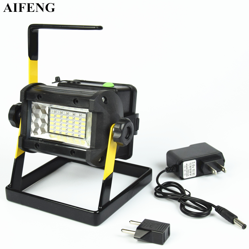 AIFENG 50W portatīvais gaismas lukturis SMD 5730 36Led gaismeklis 2400LM 18650 akumulatora uzlādējamais portatīvais gaismas signāls medību nometnēm
