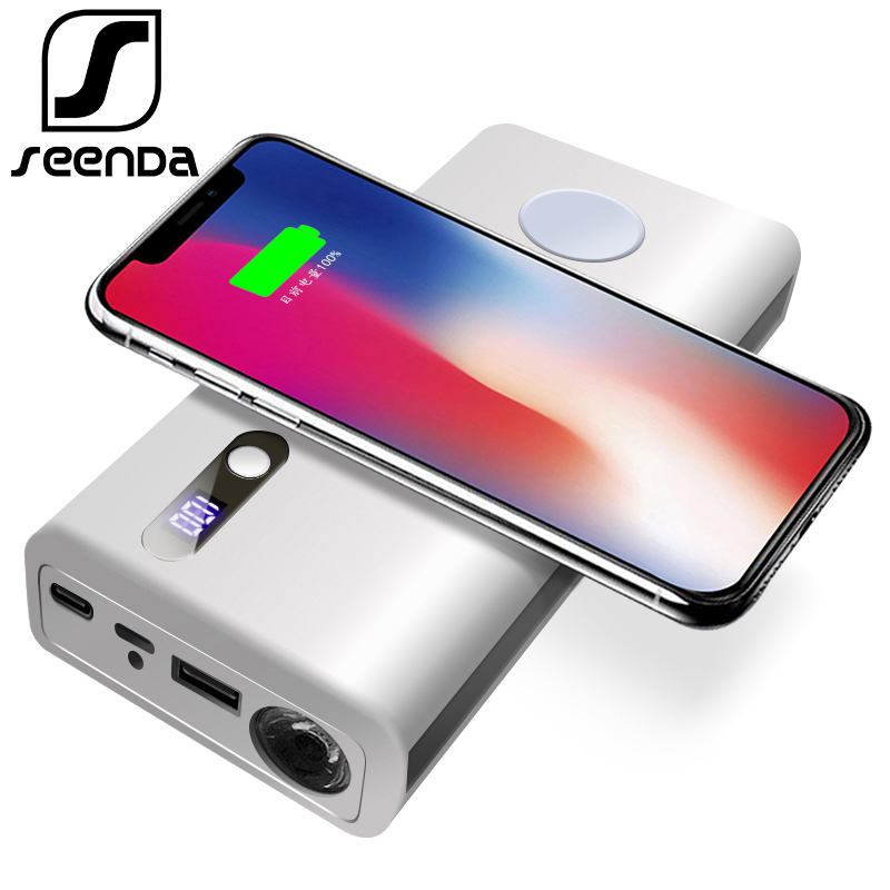 Portable 20000 mAh power bank + wireless charger with led light New Qi wireless charging for iPhone for Watch, smart phones