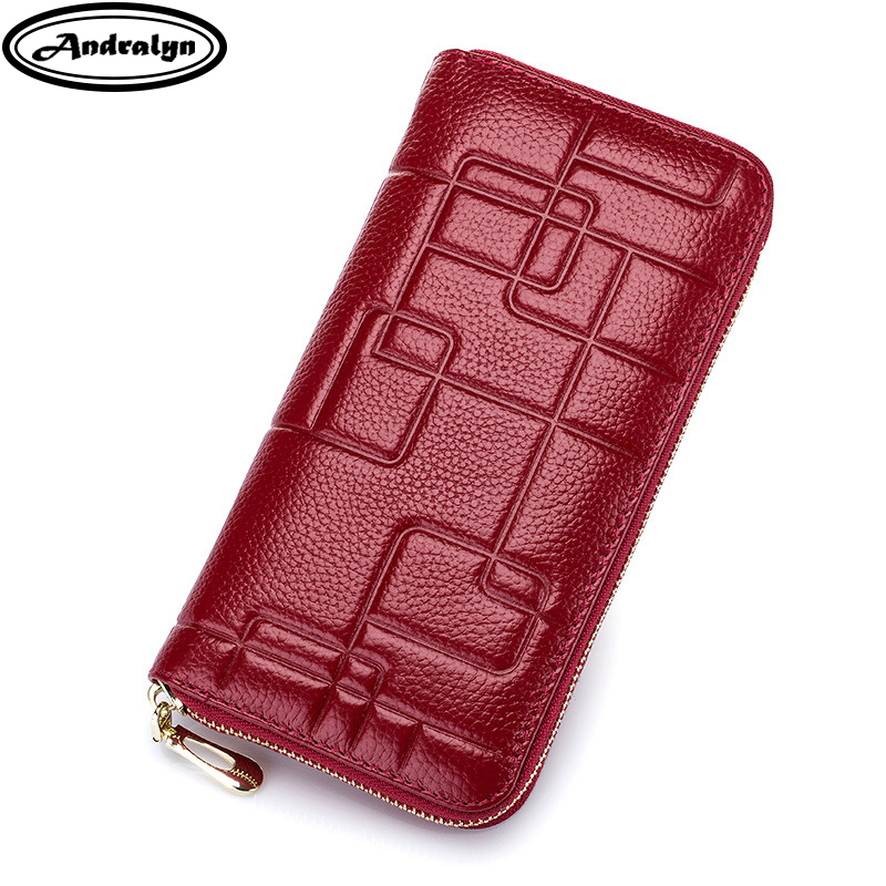Andralyn Genuine Cow Leather Women Wallet Fashion Female Long Coin Purses 2018 New Ms Clutch Rfid Anti-Scanning Money Bag Purse