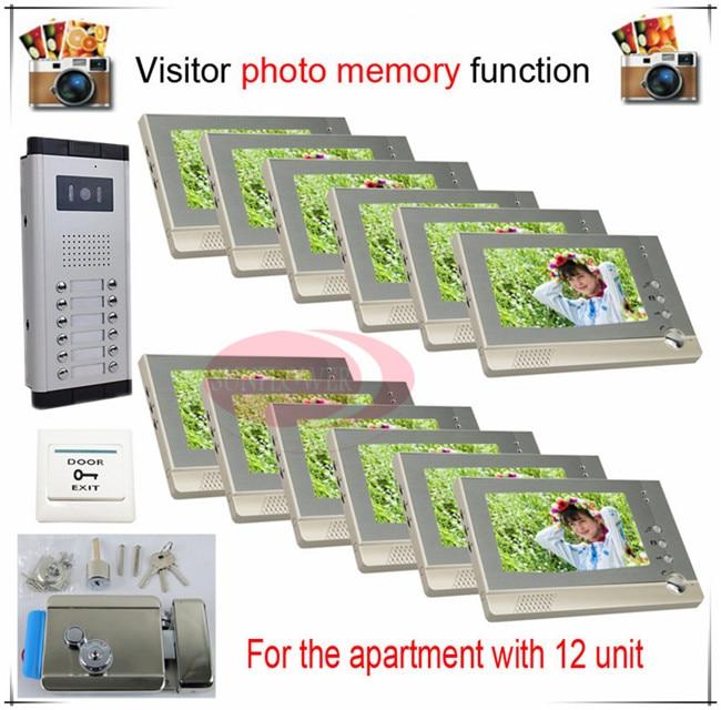 12 v12 Take Photos Color Video Door Phone Intercom Doorbell System  For  Twelve Units Apartment  + Electronic control lock
