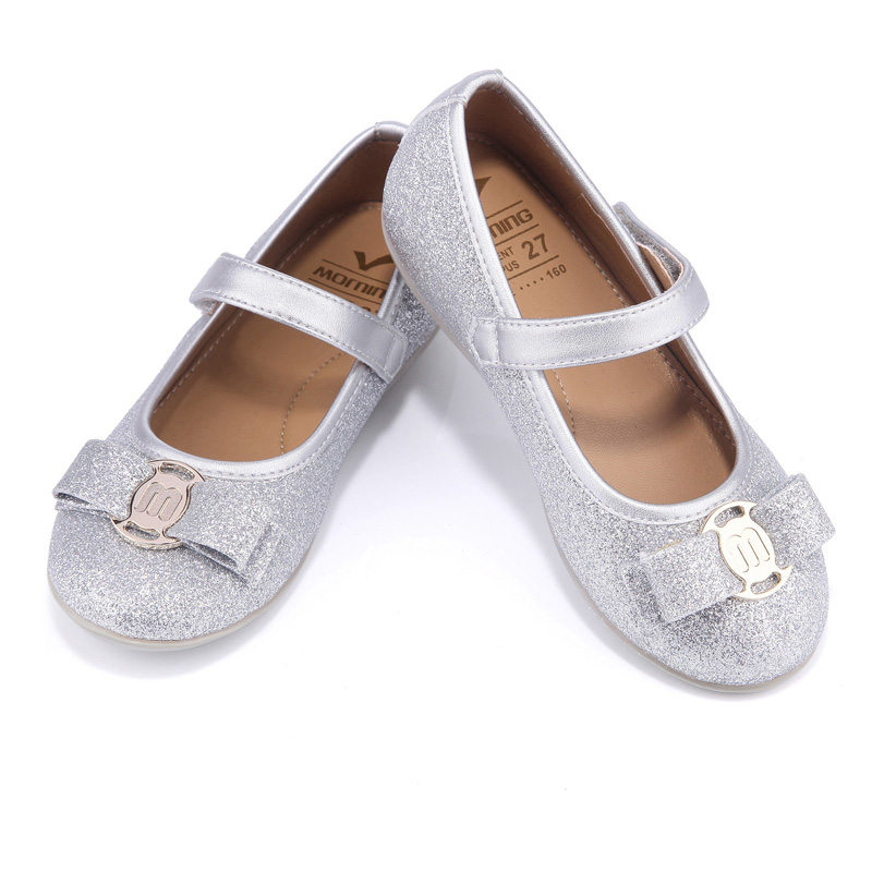 Spring autumn girls shoes silver glitter lovely princess shoes soft kids shoe insoles catwalk butterfly-knot flat children shoes girl shoes spring and autumn flash cute princess children shoes soft insole flat bottom show shoes butterfly knot convenience