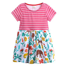 Summer Clothing Baby Girl Dress Children Striped Patchwork Dresses Girls Cartoon Princess Party Costume Kids Clothes new 2017 summer autumn girl dress stripe cartoon cute children dresses side 2 pockets cotton vestidos girls clothes kids costume