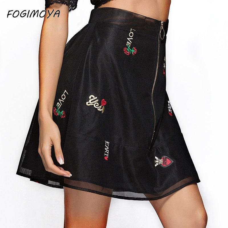 Fogimoya Skirt Women 2018 Summer Mesh Patchwork Embroidery Skirts Fashion zipper Letter Skirt Summer Mini A Line Skirts New