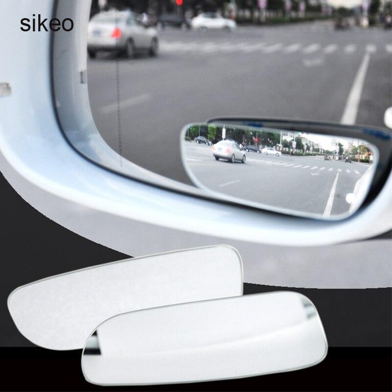 Sikeo 2 pçs espelho de carro 360 graus grande angular convexo ponto cego espelho estacionamento auto motocicleta retrovisor espelho ajustável