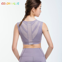 Colorvalue Vest-Type Patchwork Mesh Sport Bra Top Women Top Quality Wireless Running Fitness Bra Removable Pads Brassiere Sport