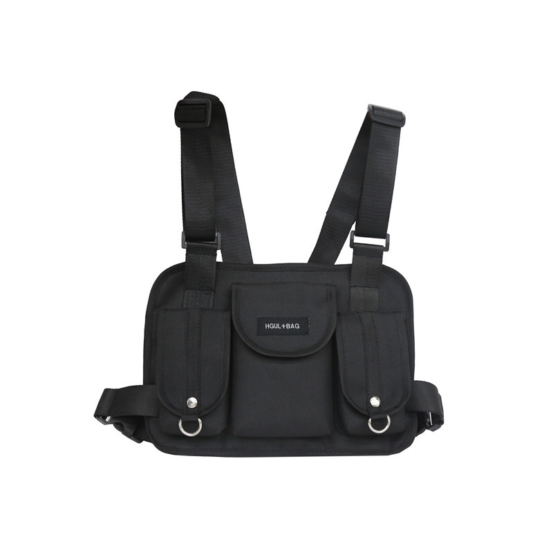Women Fanny Nylon Harness Chest Rig Waist Pack Kanye West Punk Canvas Chest Bags Black Mens Hip Hop Streetwear Tactical Bag 503