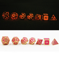 Dungeons & Dragons 7pcs/set Classic RPG Dice D&D Metal Dice Enamel Luminous Pink Digital DND Game Dice