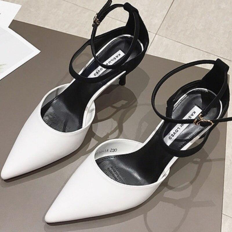 Talons 2 Nouvelle Sauvage À 3 chaussures Boucle Baotou D'été Fine Et Haute Pointu Mot Sandales 2019 Printemps 1 Avec x80ZxwTgqB