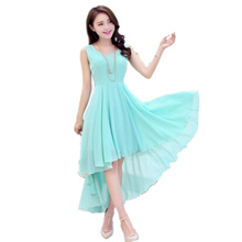 2016 New Women Summer Fashion Irregular Slim Chiffon Dress Bohemian Beach Dress Solid Color Round Neck Sleeveless Dress LD041