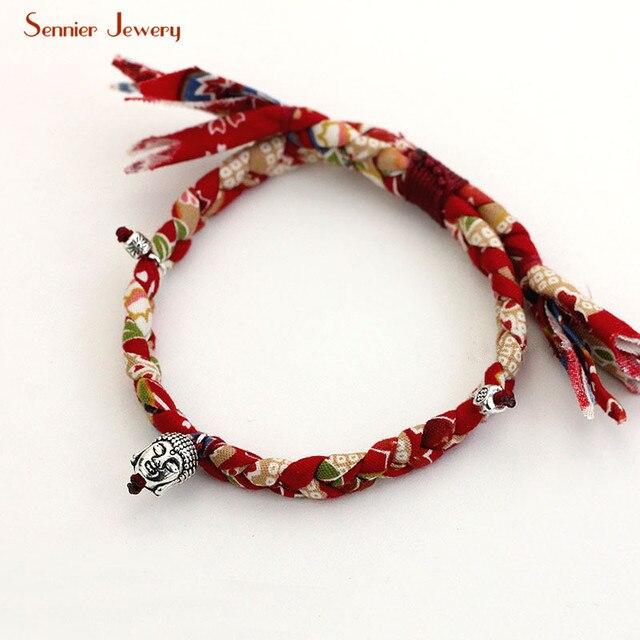 Handmade Buddha Head Lucky Beads Cotton Fabric Bracelets Colorful Short Bracelet Bangle Original Design Size Adjule