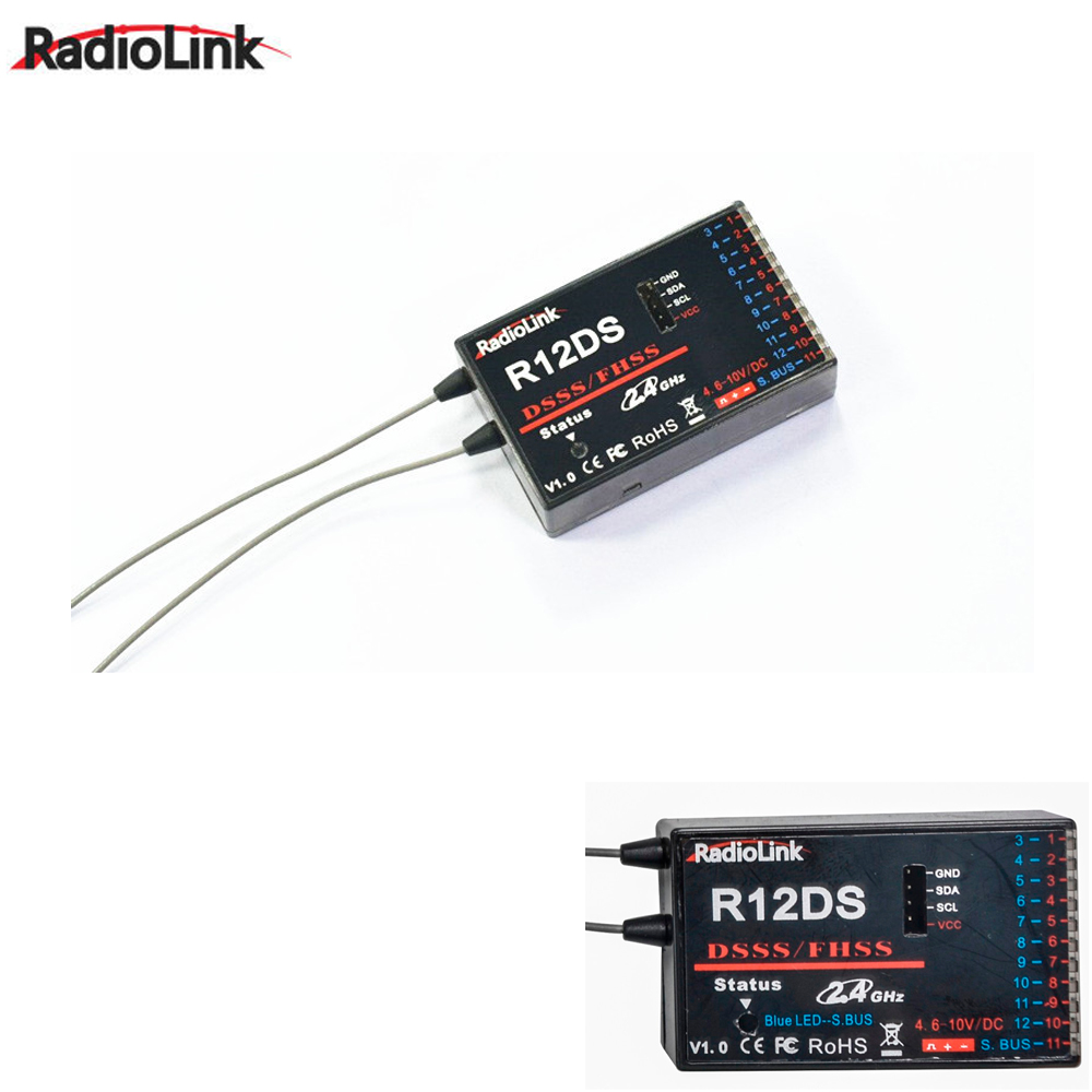 1pcs RadioLink R12DS 12CH 12 Channel Receiver 2.4Ghz For AT10 Transmitter Aircraft Aerial Photography Device radiolink r12ds 12ch 12 channel receiver 2 4ghz for at10 at10ii transmitter aircraft aerial photography device f04939