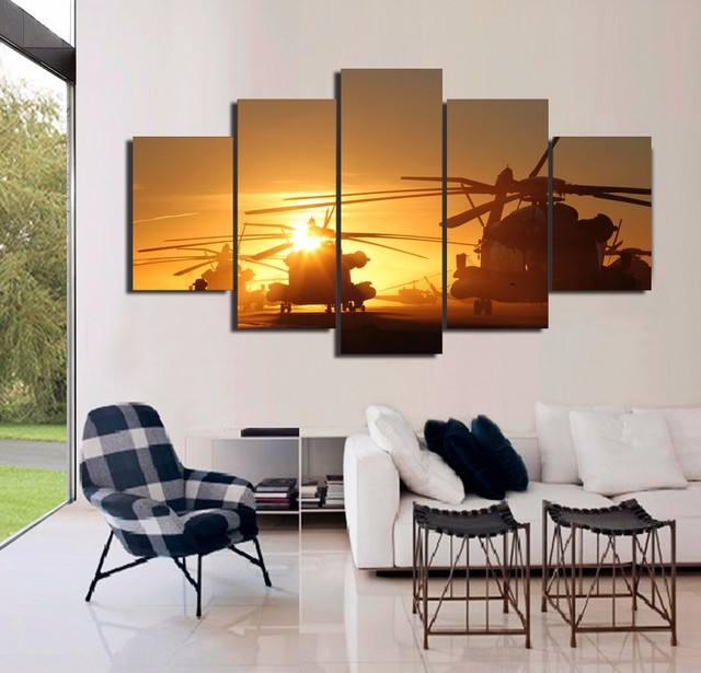 Painting Art Wall Frames Pictures For Living Room Poster 5 Panel Navy Helicopters Landscape Home Decor Canvas Hd Printed Pengda
