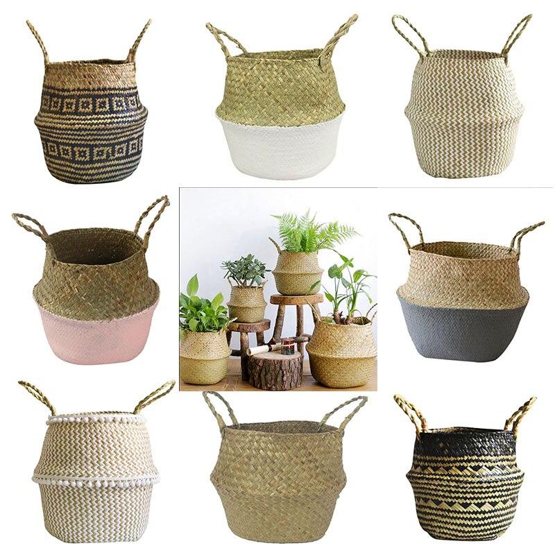 S/M/L складной горшок для хранения из натуральных водорослей, садовая Цветочная ваза, подвесная корзина, домашнее хранилище корзина декорати...