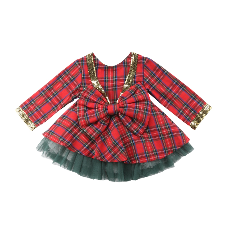 Christmas Baby Girls Plaid Back Big Bow Sequins Dress Top +Tutu Tulle  2pcs Set Party Pageant Wedding Dress #YL2 plaid