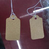 1000PC Bag Brown Kraft Jewelry Paper Tags Nylon Cord Head Label Wedding Note String DIY Blank