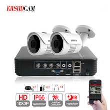 KRSHDCAM 4CH CCTV Camera System 1080P 2PCS SONY 3000TVL Outdoor Night Vision Camera CCTV AHD 1080N Security Surveillance DVR Kit
