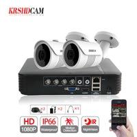 KRSHDCAM 4CH CCTV Camera System 1080P 2PCS SONY 3000TVL Outdoor Night Vision Camera CCTV AHD 1080N Security Surveillance DVR Kit
