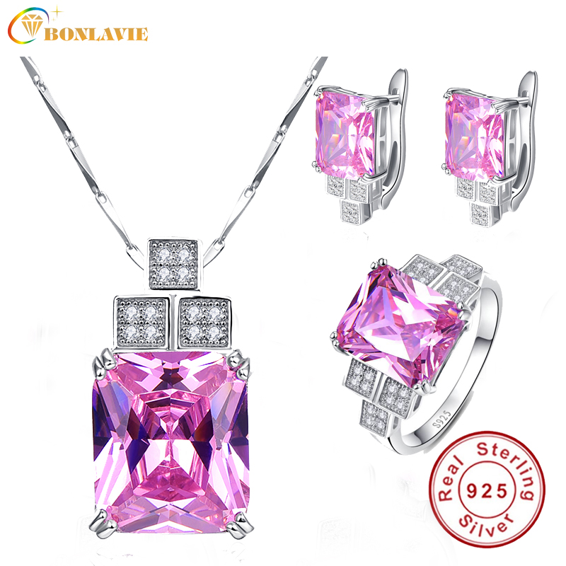 BONLAVIE 925 Sterling Silver Square Pink Topaz Jewelry Sets Wedding Band Necklace Earring Rings Sets Fine Jewelry For Woman все цены
