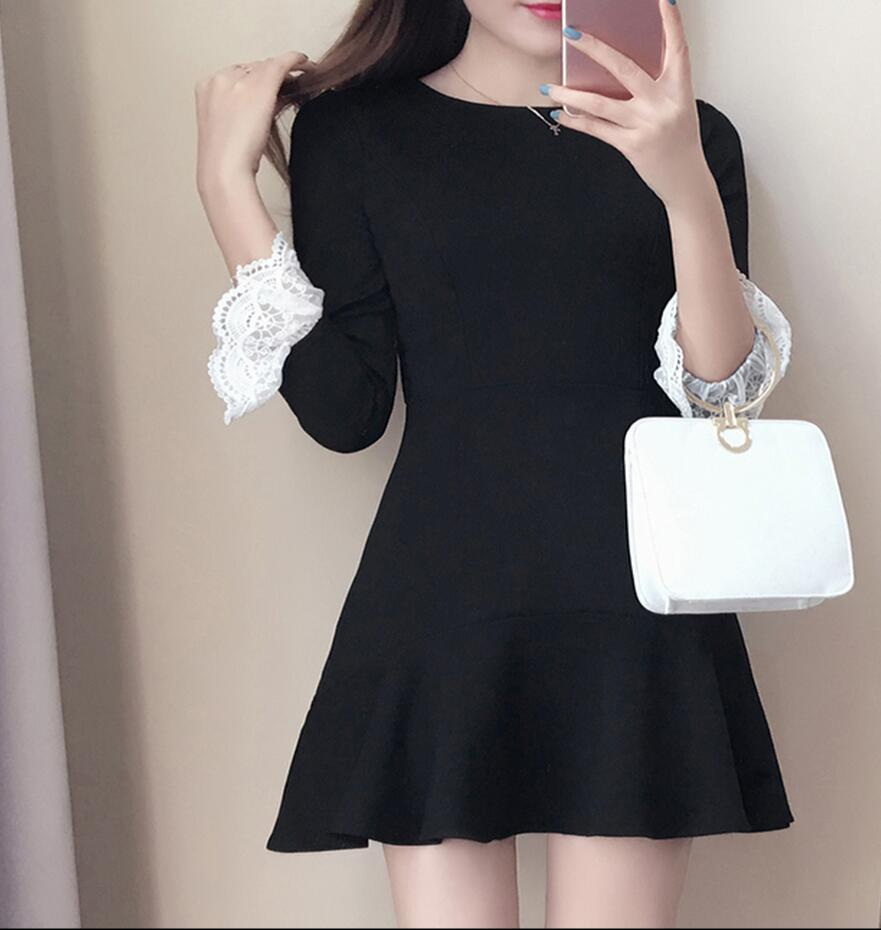 Spring new dress 2017 fashion women s pure color slim Round neck mini dress  Korean lace long sleeves lotus leaf fish tail dress 33c6183e7