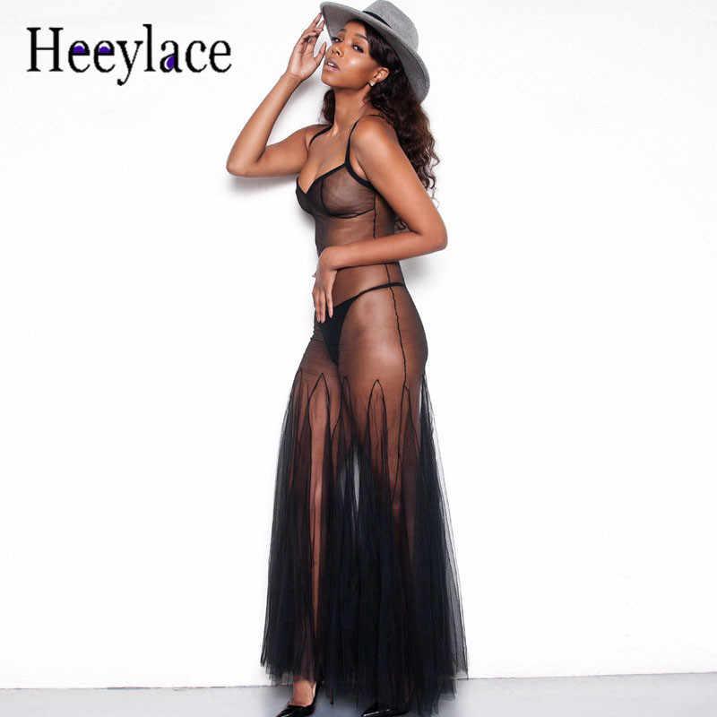 4d6e1a747968430 Пикантные прозрачные шифоновое платье женские тонкие бретельки black mesh  Макси длинное платье летние пляжные халат женские