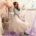 Японский Лес Девушка Стиль женские Лето Осень Свободные Плюс Размер Кружева Мило Dress Мори Девушка Зрения Принцесса Dress A003