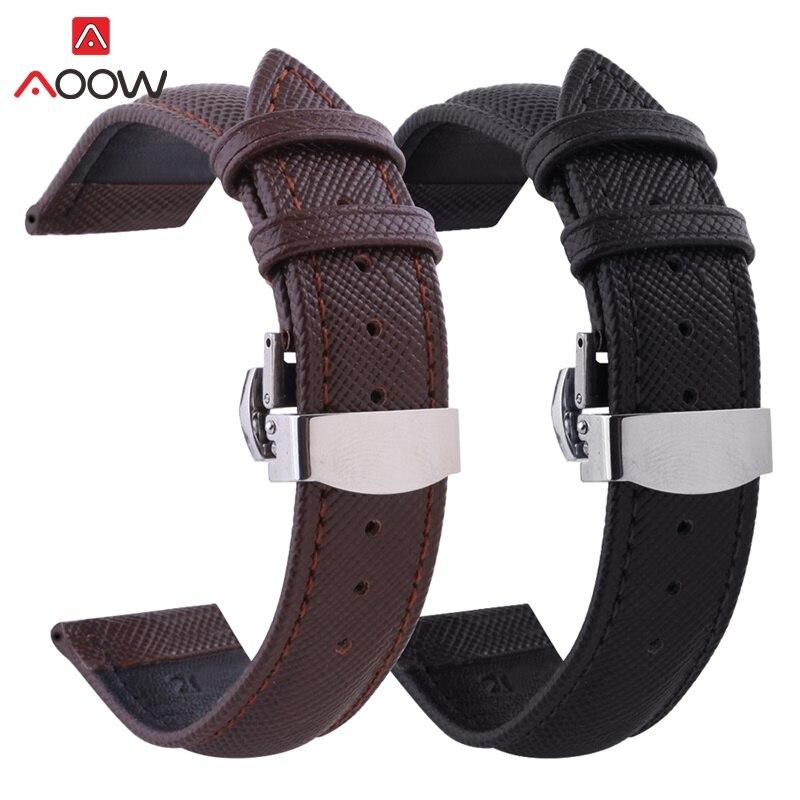 AOOW Leather Watchband Men Women Watch Band 24mm 22mm 20mm 18mm 16mm 14mm 12mm Wrist Watch Strap Belt Watchbands Bracelet