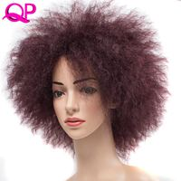 Qp Hair Afro Kinky Straight High Temperature synthetic Wig African American short wigs for Women Ombre red Blonde Cospaly Wig