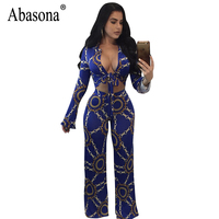 Abasona Women Wide Leg Jumpsuits Autumn Vintage Chain Printed Two Piece Outfits Rompers Jumpsuit Sexy Bow