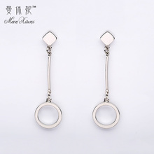 Silver Plated Copper Hyperbole Tassel Round Long Pendant Ear Accessories Pendientes Largos Anti-Allergic Wedding Earrings