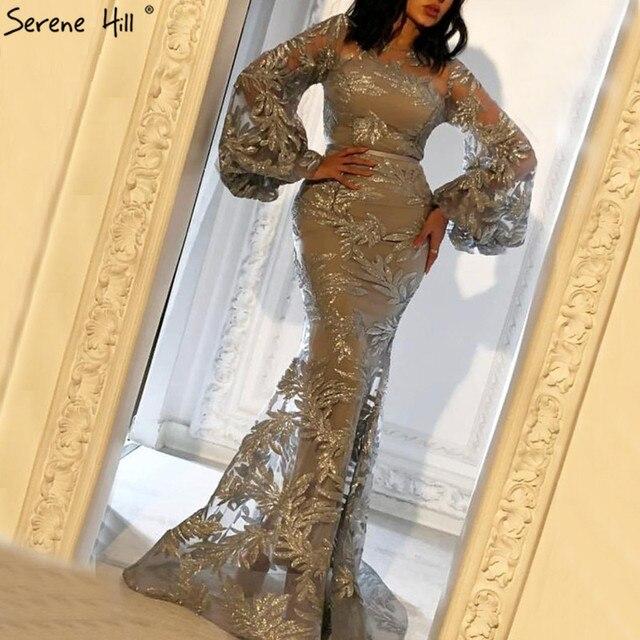 63748aa9b Sexy Dubai Lantern Sleeve Latest Designer Evening Dresses 2019 Mermaid  Sequined Luxury Evening Gowns Robe De Soiree BLA60795
