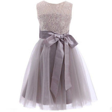 Princess Long Grey Flower Girl Dresses 2017 New Tulle Kid Floor Length Pageant Wedding Party Lace Draped Sash Bows Hollow Formal