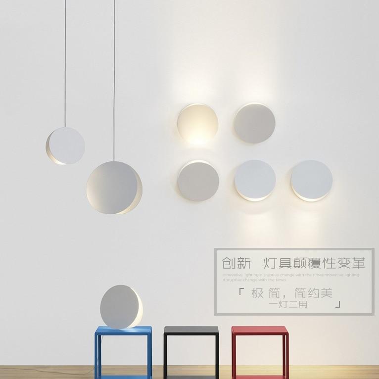 ФОТО AC90-260V indoor Home Decoration Hanging Light lamp Iron Round Back Shell Pendant light Northern Europe Modern Simple Droplight
