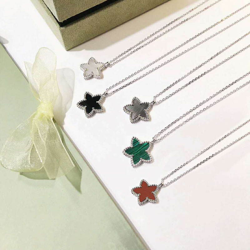 Hot Pure 925 Sterling Silver Jewelry For Women Necklace Mother Shell Pearl Four Lucky Star Pendant 15MM