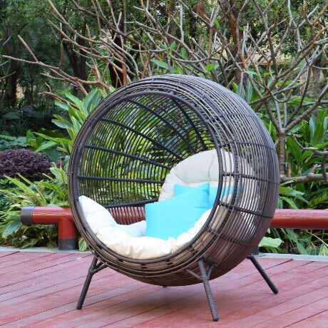 Outdoor Rattan Round Bed Beanbag Chair Swing Sun Lounger Recliner Happy Lazy
