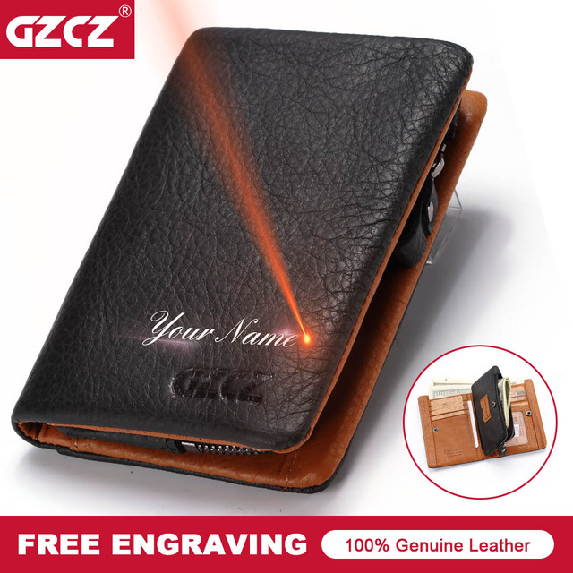 641e30b4dfd6 GZCZ 2018 New Men's Wallet Genuine Leather Classic Men Vallet Card Holder  Zipper Poucht Gift Male Purse Drop Shopping Portomonee