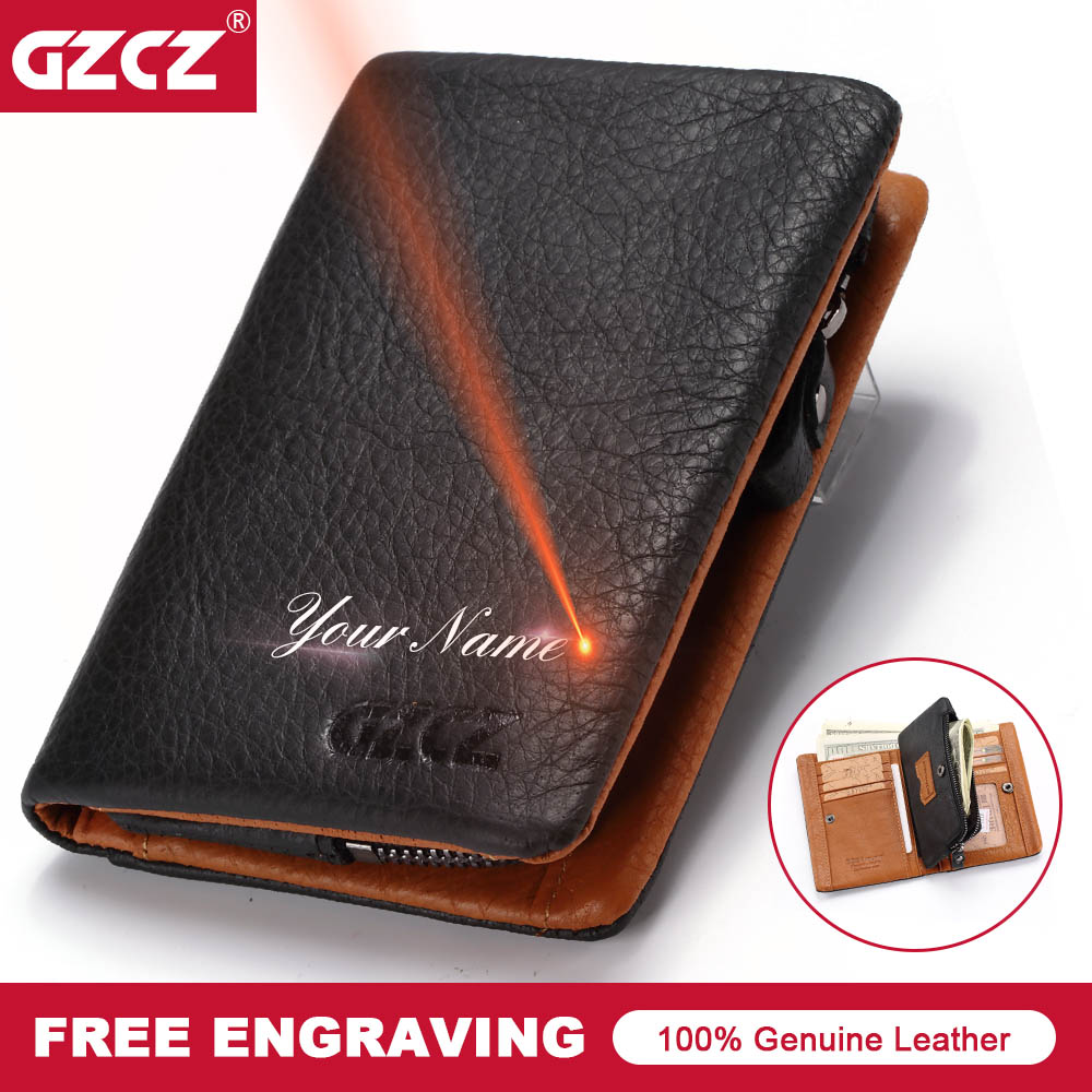 GZCZ 2018 New Mens Wallet Genuine Leather Classic Men Vallet Card Holder Zipper Poucht Gift Male Purse Drop Shopping Portomonee ...