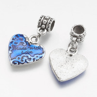10PCS Antique Silver Heart Dangle Beads Large Hole European Pendants fit Charm Bracelets&Bangles Dangling Beads for DIY Jewelry
