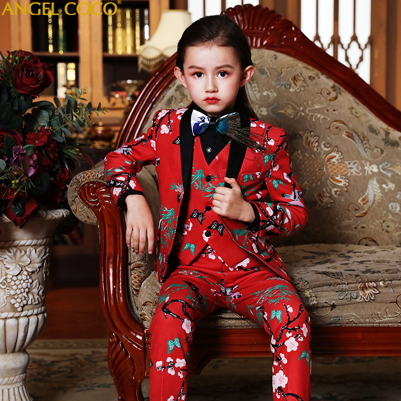 High Quality Print Red Plum 6 Pcs Set Coat Trousers Vest Bow Tie Brooch Pocket Towel Children'S Suits Girls Suits Boys Unisex a set of deep tartan pattern tie pocket square bow tie