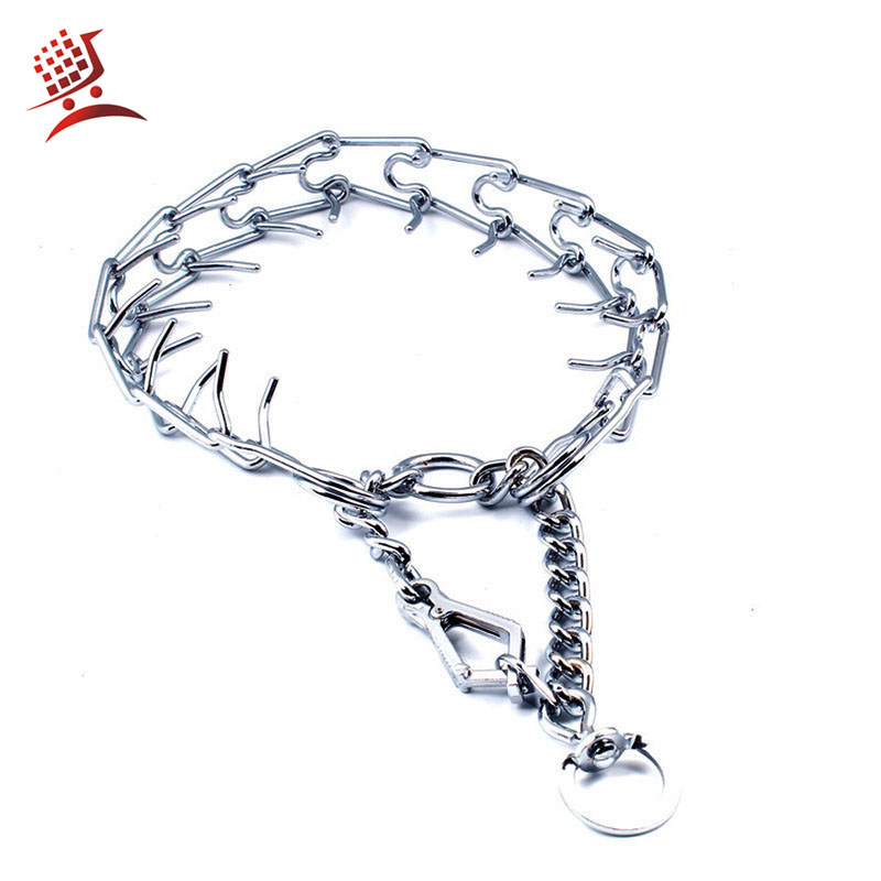 Chrome Plated Pinch Dog Collar Prong Dogs Training Choke Chain Dog Training Necklace Rubber Tips Guardian Pitbull Necklace