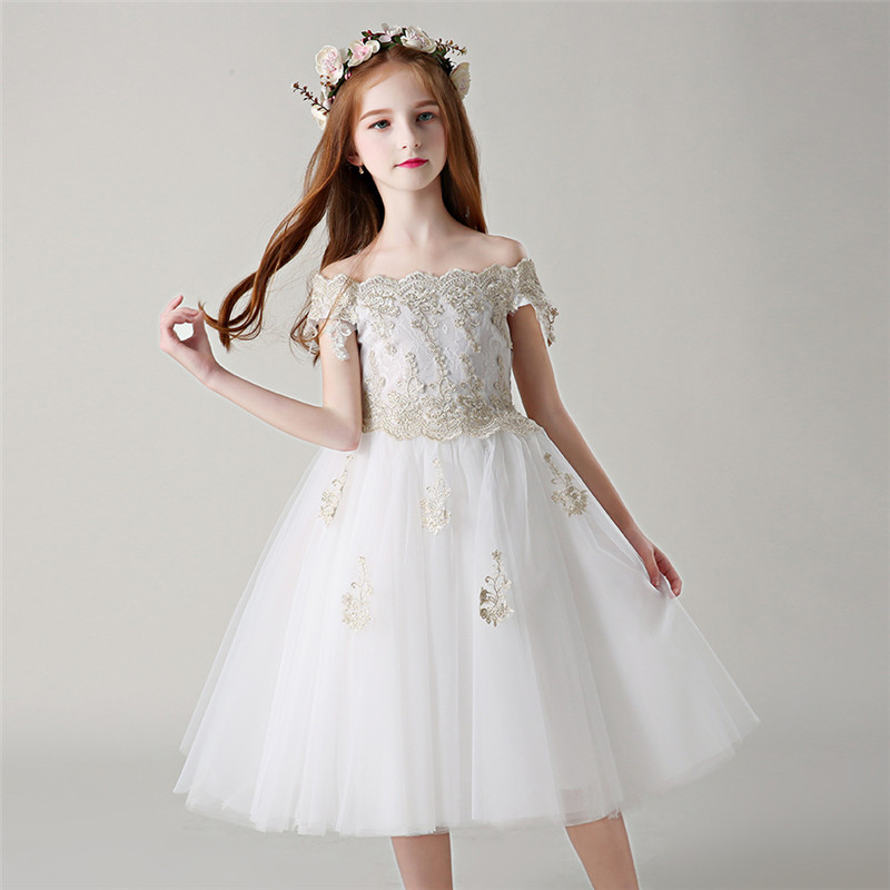 Girls Teens White Color Shoulderless Birthday Wedding Party Princess Lace Mesh Dress Kids Babies Elegant Piano Pageant Dress 2017 new arrival luxury elegant children girls white color shoulderless design princess party dress kids birthday wedding dress