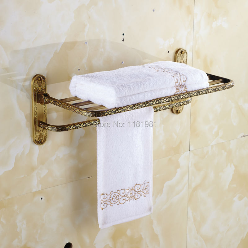 Wall Mounted Antique copper finish Brass Double Tiers Towel Bar Art Carved Style Bathroom Towel Hanger bathroom accessories I643 antique brass double towel bars art carved style papel de parede listrado