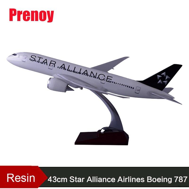 Modèle d'avion en résine 43 cm B787 modèle d'avion Star Alliance Airlines modèle Boeing 787 Airways modèle d'avion Airbus Star Alliance