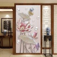 Customized size 3D Windows Glass Film Door Stickers modern Wall sticker Art opaque Self Adhesive Lotus