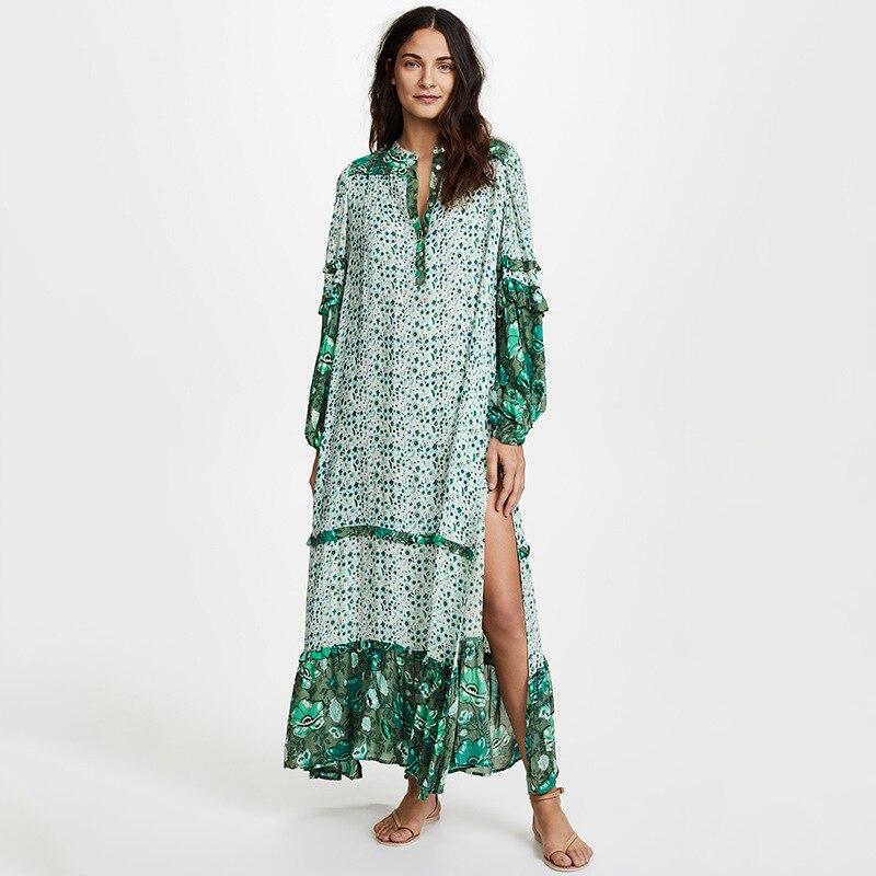 Col en v vert imprimé Floral à manches longues robe mi-longue femmes robes hautes fentes latérales Boho Hippie robe de plage Vestidos