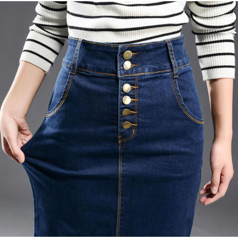 4Xl 7Xl Xs falda de mezclilla de talla grande mujer Casual Push Up cintura alta lápiz Jeans faldas con abertura trasera ajustada cadera larga faldas elásticas