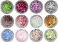 2013 Nuevo 2*12 Colores/set Glitter powder/Triturado de Piedra Shell Para El Arte UV Gel Acrílico decoración del clavo + Envío Libre