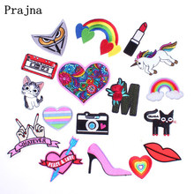 Prajna Cool Clothing Accessory Cards Rainbow Heart Flower Black Cat Owl Iron On Sew Patches Embroidery Decor For DIY Cloth Coat(China)