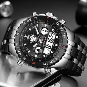 Image 2 - GOLDENHOUR Men Sport Watches Analog Digital Dual Display Man Fashion Outdoor Military Black Rubber Wristwatch Luminous Clock