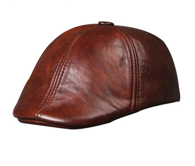 Fashion Men Hat Spring Autumn Winter Genuine Leather Solid Fashion Black Beret Baseball Cap